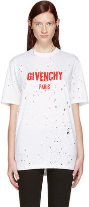 Givenchy White Destroyed Logo T-Shirt $740 thestylecure.com