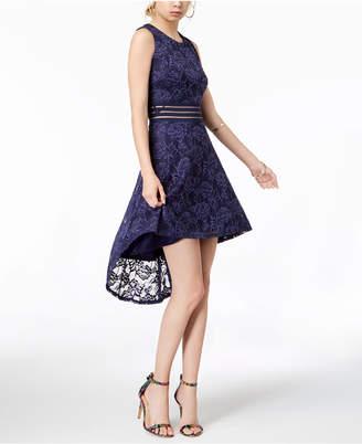 City Studios Juniors' Illusion Lace High-Low Dress
