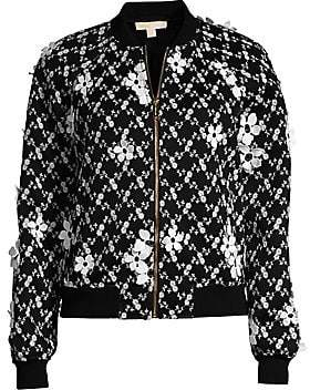 MICHAEL Michael Kors Women's Mesh Floral Embroidered Bomber Jacket