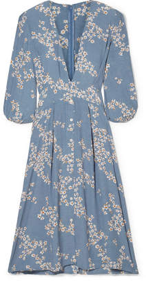 Faithfull The Brand Chloe Tie-detailed Floral-print Crepe Midi Dress - Light blue