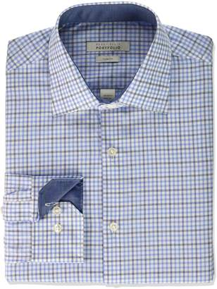 Perry Ellis Men's Slim Fit Adjustable Collar Perf Tattersall Dress Shirt