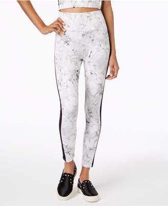 Material Girl Juniors' Contrast-Stripe Printed Leggings, Created for Macy's