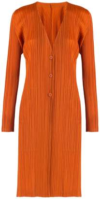 Pleats Please Issey Miyake Knee Length Cardigan