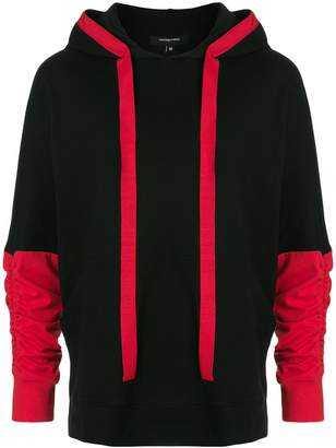 Unconditional contrast panel ruched sleeve hoodie