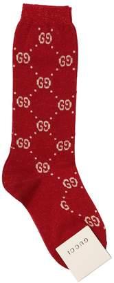 Gucci Gg Supreme Cotton & Lurex Knit Socks