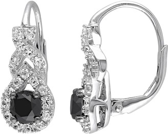 Black Diamond Stella Grace 1 Carat T.W. & Lab-Created White Sapphire Sterling Silver Twist Drop Earrings