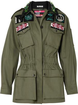 Miu Miu Oversized Embellished Cotton-blend Drill Jacket - Green