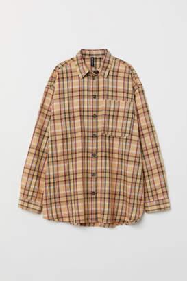 H&M Checked Twill Shirt - Beige