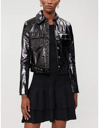 Maje Liza cropped patent leather jacket
