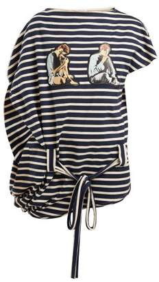 J.W.Anderson X Gilbert & George Print Striped Cotton Top - Womens - Blue White