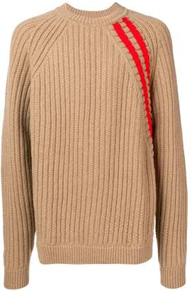 Jil Sander ribbed striped shoulder sweater