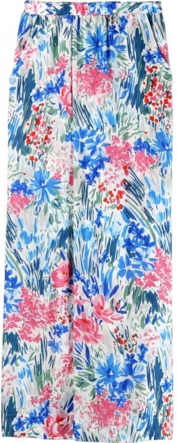 Johnny Was SILK FLORAL PRINT PANTS