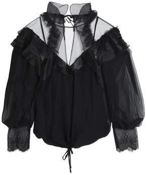 Alberta Ferretti Organza And Lace-Paneled Silk Blouse