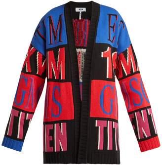 MSGM Oversized logo-intarsia cardigan
