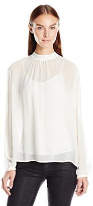 Greylin Women's Anissa Sheer Silk Tie Neck Blouse