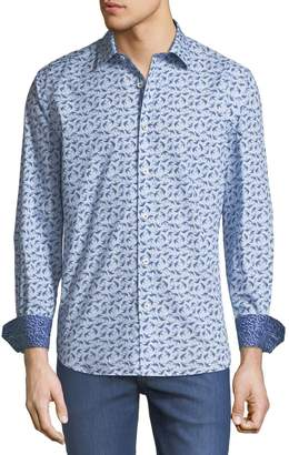 Bugatchi Shaped-Fit Bird-Print Sport Shirt