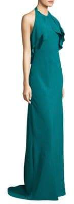 Carmen Marc Valvo Floor-Length Halterneck Gown