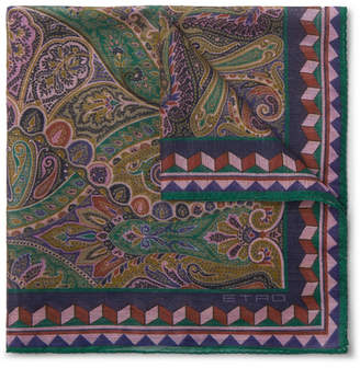 Etro Paisley-Print Linen And Silk-Blend Pocket Square