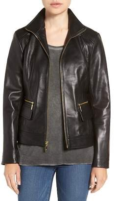 Cole Haan Stand-Up Collar Leather Jacket