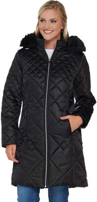 Isaac Mizrahi Live! Mixed Quilting Puffer Coat with Removable Hood