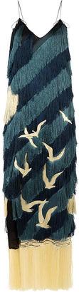Black Tonal Fringed Bird Strap Dress
