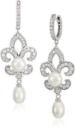 Swarovski Platinum-Plated Sterling Silver Zirconia Freshwater Pearl Fleur-de-Lis Bridal Earrings