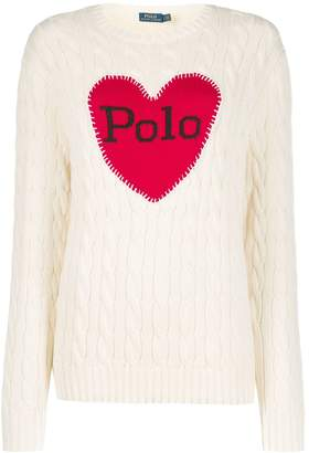 Polo Ralph Lauren logo heart print sweater