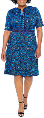 London Times Short Sleeve Printed Fit & Flare Dress - Plus