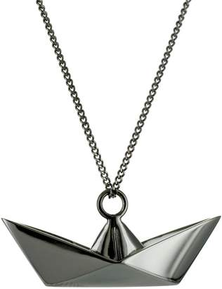 Origami Jewellery Boat Necklace Gun Metal
