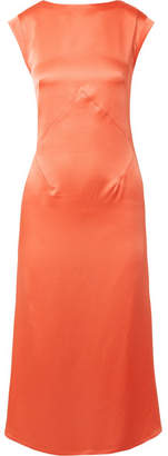 Tome Washed-satin Midi Dress - Coral