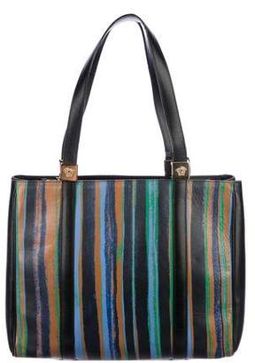 Gianni Versace Leather Striped Tote
