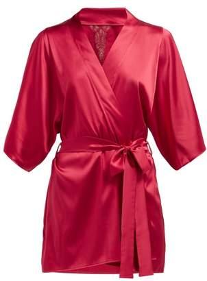 Fleur of England Wallflower Lace Insert Silk Blend Robe - Womens - Pink