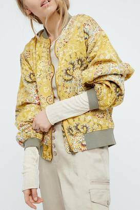 Free People Yellow Printed Bomber $168 thestylecure.com