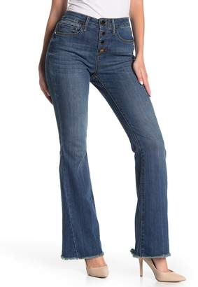 Seven7 High Rise Frayed Hem Flared Leg Jeans