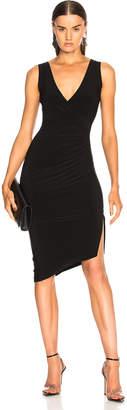 Norma Kamali Sleeveless V Neck Side Drape Dress