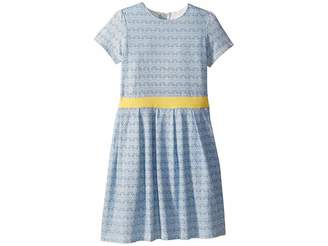 Toobydoo Soft Cotton Blue and Gold Party Dress (Toddler/Little Kids/Big Kids)