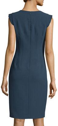 Elie Tahari Stefana Flutter-Sleeve Sheath Dress $398 thestylecure.com