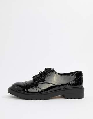 Faith Ace black lace up patent brogue shoes