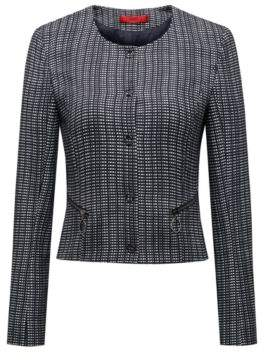 HUGO Boss Slim-fit cropped jacket in a checked cotton 2 Open Blue