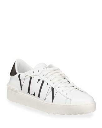 Valentino VLTN Open-Laced Leather Low-Top Sneakers