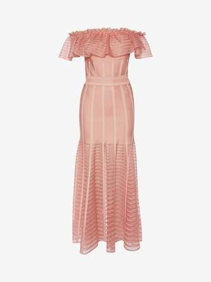 Alexander McQueen Off-The-Shoulder Midi Sheer Knit Dress