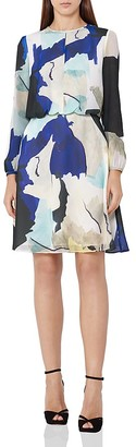 REISS Neave Watercolor Dress $340 thestylecure.com