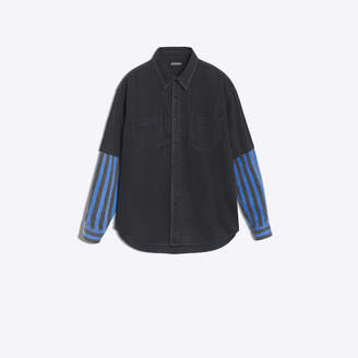 Balenciaga Double sleeve denim and striped shirt