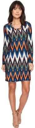 Taylor Chevron Printed Long Sleeve Scoop Neck Jersey Dress Women's Dress