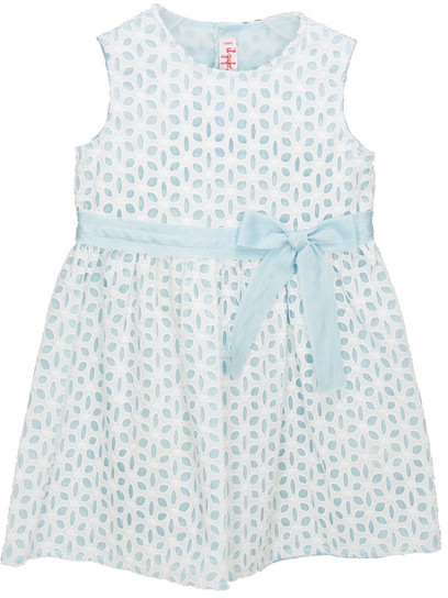 Il Gufo Sleeveless Eyelet Dress with Blue Bow
