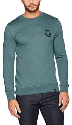 Colours&Sons Men's Logo-Bouclé Crewneck Sweatshirt,Medium