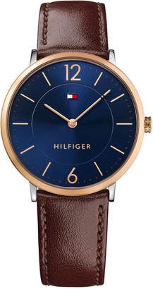 Tommy Hilfiger Men's Slim Sophisticated Sport Brown Leather Strap Watch 40mm 1710354