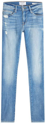 Frame Slim Straight Leg Jeans with Distressed Detail