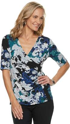 Dana Buchman Women's Printed Surplice Top