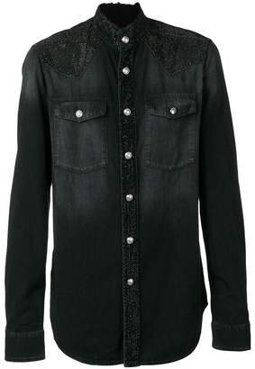 Balmain embellished frayed shirt